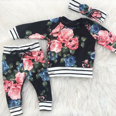 UK Toddler Kids Baby Girl Infant Clothes T-shirt Tops Pants Outfit Set Tracksuit