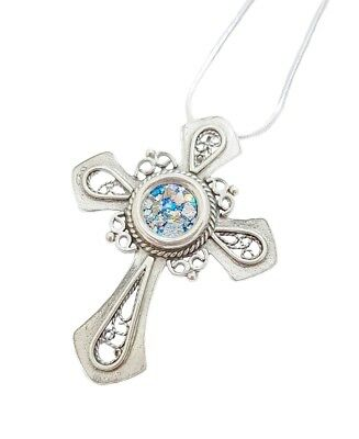 925 Silver Roman Glass Cross Pendant Necklace Christianity Crucifixes