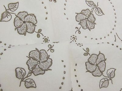 Vintage Hand Embroidered Off White & Taupe Linen Tablecloth