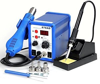 2in1 878ad Soldering Iron Rework Station Hot Air Gun + Tip + 3 Nozzles Heat NEW