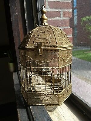 """Gold Bronze Painted Glitter Metal Wire Decorative 14"""" Hanging Ornate Bird Cage"""
