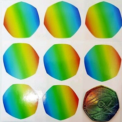 2017 newton 50p coin stickers prof made. high quality and colour x12 transparent