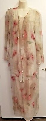 Ursula of Switzerland Formal Layed Chiffon Mother of Bride Gown Dress/Jacket 14