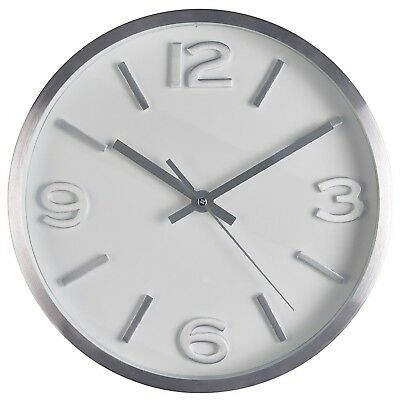 Round Silver Modern Wall Clock Silent Non Ticking Quartz Battery Operated 10