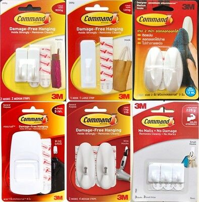 3 x 3M COMMAND SMALL MEDIUM JUMBO HOOK DECORATIVE WHITE REMOVABLE HANGING DIY
