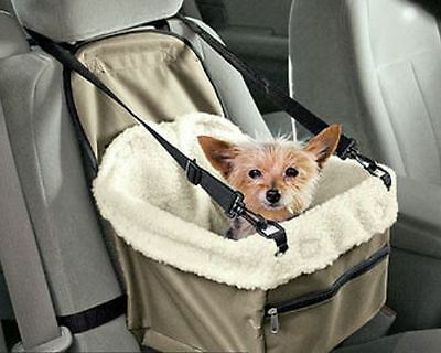 Small DOG Cat ~ AUTO Car BOOSTER SEAT ~ Lined SAFE CARRIER Attached Restraint