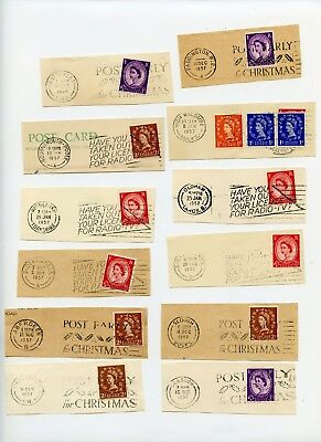 GB selection of 1957 slogan postmarks on cut outs, 12 items (Q845)