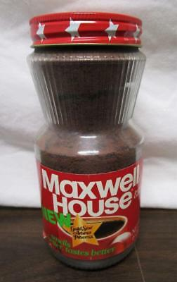 VINTAGE NOS MAXWELL HOUSE INSTANT COFFEE 6oz GLASS JAR METAL LID SEALED