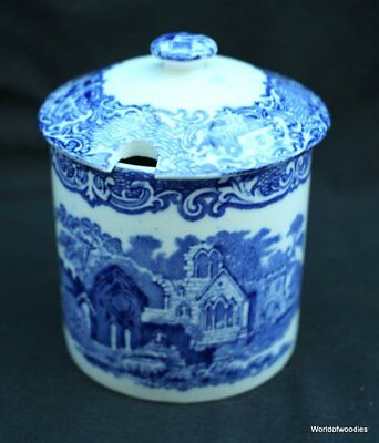 Antique George Jones & Sons Blue & White  Preserve Pot Abbey 1790