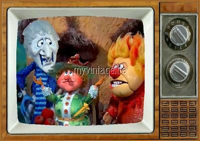 "HEAT & SNOW MISER Mother Nature 2"" x 3"" Fridge Magnet Refrigerator vintage image"
