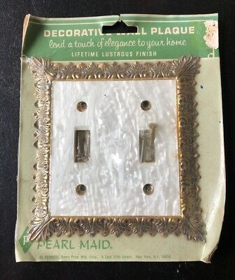 Pearl Maid Double Light Switch Plate Mother Of Pearl Brass Vintage NOS