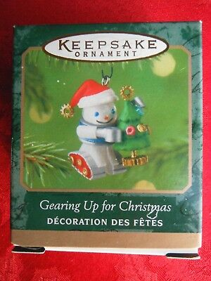 HALLMARK 2001 Gearing Up for Christmas ROBOT DIE-CAST Metal MINIATURE ORNAMENT