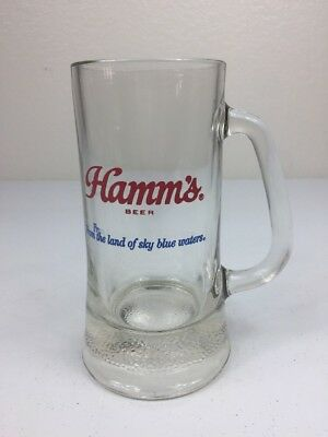 Vtg Hamm's Glass Beer Mug Heavy Bottom Born In The Land Of Sky Blue Waters
