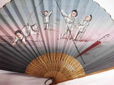 zauberhafter antiker handbemalter Fächer-1918-enchanting antique handpainted fan