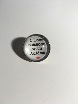 I Love Someone With Autism Small Glass Pin Badge