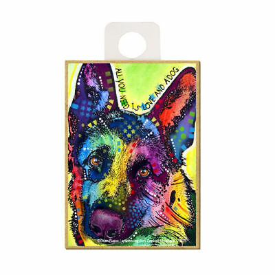 German Shepherd All You Need Is Love And A Dog Dean Russo Wood Fridge Magnet