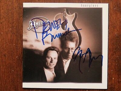 Signed Autograph CD Booklet Dewey Bunnell Gerry Beckley - America Hourglass