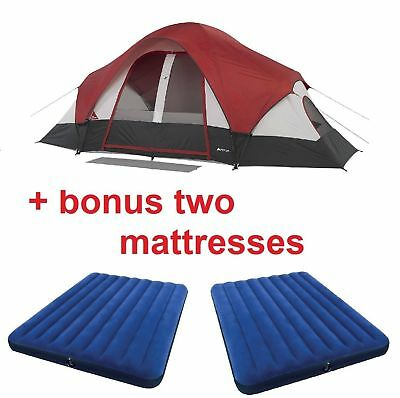 Large Tent Camping Outdoor Trail Big Room 9 Person Waterproof with Queen AirBed