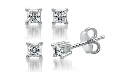 DeCarat Diamond GSI Certified Stud Earrings: 0.10 CTTW Princess 14K White Gold