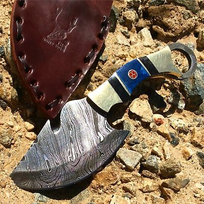 TheBoneEdge CUSTOM HAND MADE DAMASCUS STEEL HUNTING SKINNER KNIFE COPPER