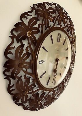 Vintage Metamec metal flower wall clock gold cloured face  Sunburst 70's English