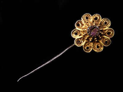 MAGNIFICENT ANTIQUE 1800's. GILT SILVER FILIGREE JEWELRY PIN!!!