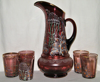 Antique Victorian HAND PAINTED AMETHYST ART GLASS PITCHER & (5) TUMBLERS Purple