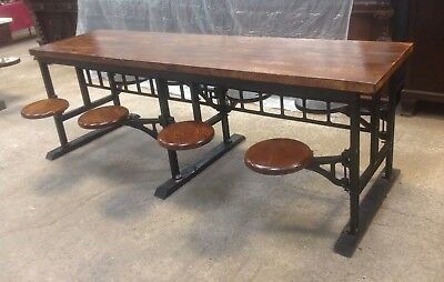 Industrial 8' Lunchroom Table with 8 Cast Iron Swing Out Stools &  Maple Top