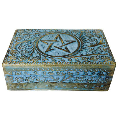 "NEW Blue Painted Pentagram Carved Wooden Lined Tarot Box 5x8"" Wood Pentacle"