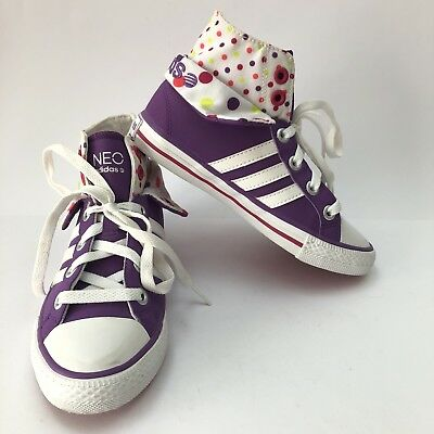 ADIDAS Neo Kids Size 1 Sneakers Purple High Top Runner Polka Dot Lace Up Girls