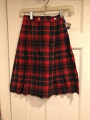 Vintage 80s NWT Her Majesty Red Plaid Pleated Skirt / Kilt - Sz 10