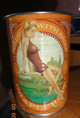 VINTAGE STYLE Deep Eddy Ruby Red Vodka Cup Orange Pin-Up Model Classic Tin New