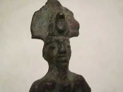 Bronze Ancient Egyptian Osiris Statue On Wood Base From A British Collection