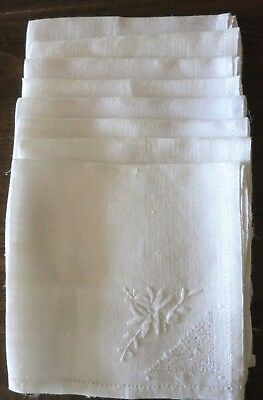 """8 Vtg WHITE LINEN NAPKINS WITH EMBROIDERY AND HEM-STITCHING - 14.5"""" SQUARE"""