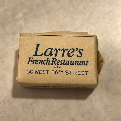 Vintage Wrapped Sugar Cube Miniature Paper Advertisement Larre's French Rest. Ny