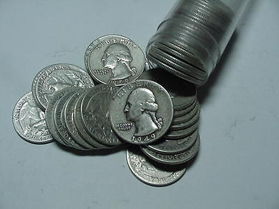 Washington Quarters 90% Silver 40-Coin Roll --$10 face mixed dates and mints