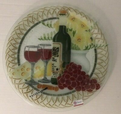 """NEW Peggy Karr Large 14"""" Round Platter Wine Glasses, Wine, Cheese, Grapes"""