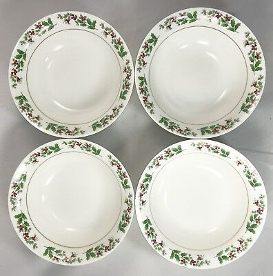 Gibson Designs Christmas Charm Set of 4 Cereal/Salad Bowls, Hollies and Berries