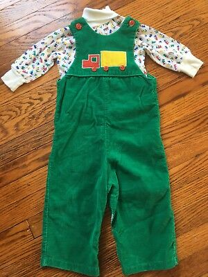 Vintage Corduroy Overalls Bibs Green Truck Shirt Outfit 18 Months Toddler Baby