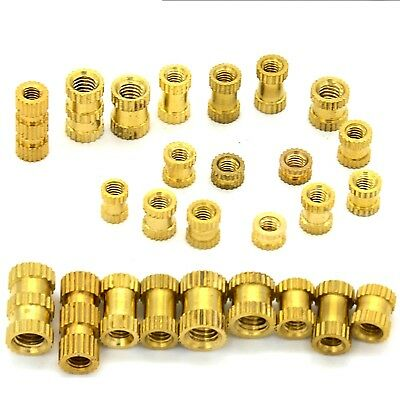 M1 to M6 Brass Cylinder Knurled Threaded Insert Embedded Nut Select Size
