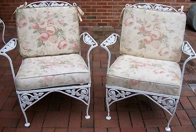 PAIR 1950s WROUGHT IRON ARM CHAIRS by MeadowCraft Exc Cond Structurally Sound