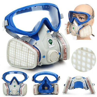 Full Face Respirator Mask Double Filter Air Protection Breathing Chemical Gas