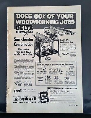 Vintage 1951 Delta Milwaukee Saw-Jointer Combination Full Page Original Tool Ad