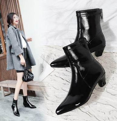 e7a9171f9e0 Womens Stylish Pointed Toe Ankle Boots Shiny PU Zipper Kitten Heel Shoes  Sbox14