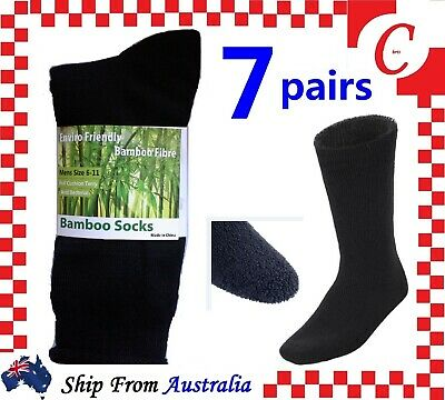 6Prs BAMBOO SOCKS Men's Heavy Duty Premium Thick Work BLACK Bulk New