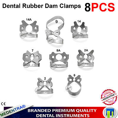 MEDENTRA® 8Pcs Rubber Dam Clamps Restorative Instruments Molars Endodontic Lab