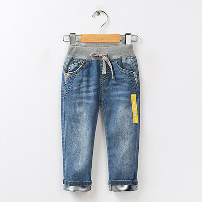 Kids Boys Girls Blue Denim Pants Casual Trousers Children Casual Jeans 2-10Y