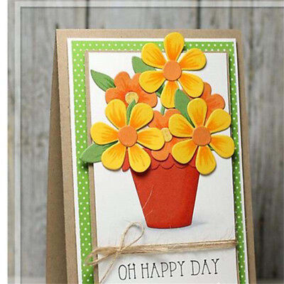 Flowers pot cutting dies stencil scrapbooking embossing album gift card decor  X