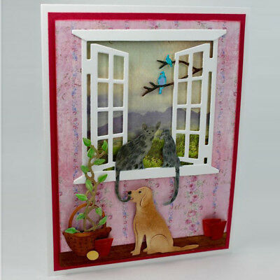 Lovely Cat on the window Metal Cutting Dies For Scrapbooking Craft Decor  X
