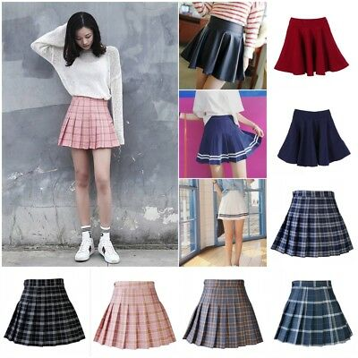 High Waist Short Skirt Skater Mini Skirt School Girls Flared Pleated Swing Women